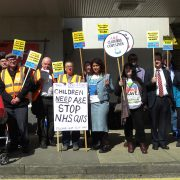 Protest in Greenford against the closure of the Children's Ward