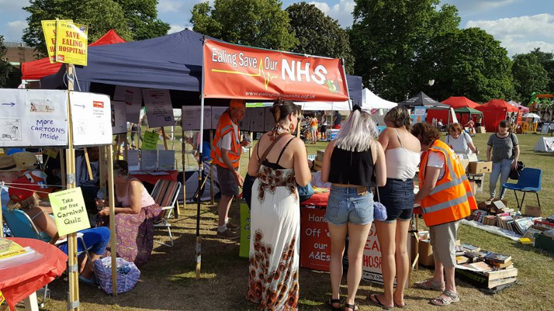 Ealing Save Our NHS has a stall in Elthorne Park