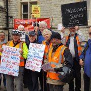 Protest against huge privatisation of NHS services